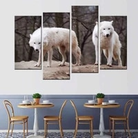 4 pcsset large animals wolf with tree canvas print painting modern white wolves couple wall art picture living room decor