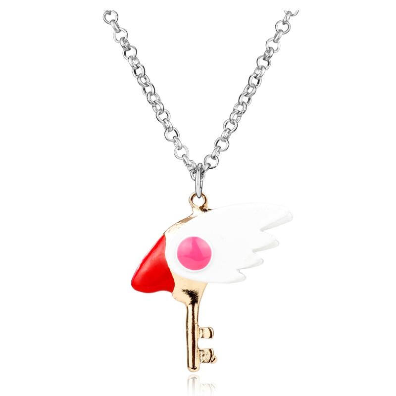 Collar de joyería para fanáticos del Anime de moda, collar de Kinomoto, Captor de tarjetas, Sakura, varita, estrella, colgante, collar, regalo para niñas