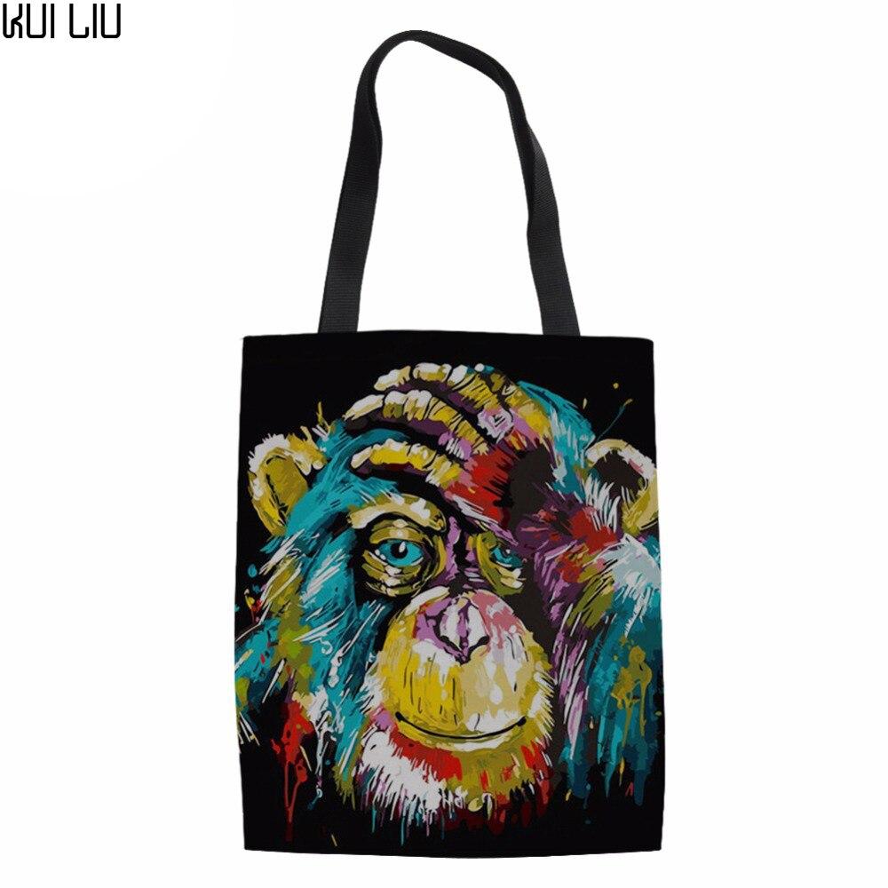 Многоразовые продуктовые женские сумки-тоут эко большие складные сумки для покупок Baboon животные лев тигр холст хлопок Ecobag хозяйственная сумка