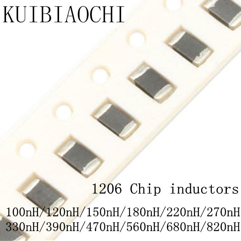 50 unids/lote 1206 SMD chip inductor 3216 100nH 120nH 150nH 180nH 220nH 270nH 330nH 390nH 470nH 560nH 680nH 820nH