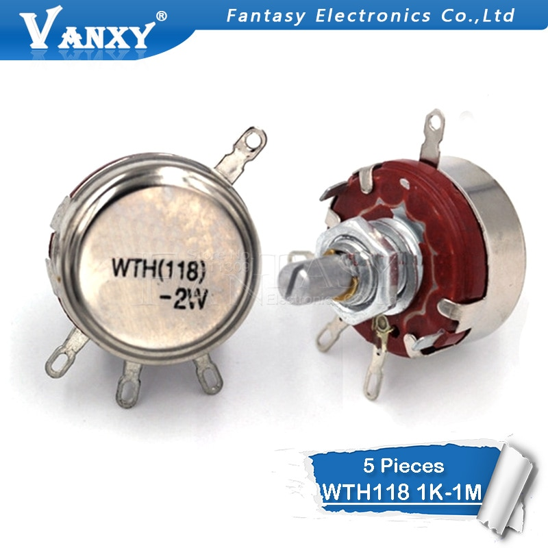 5 шт. WTH118 2 Вт 1A потенциометр 1 к 2,2 к 4,7 к 10 к 22 к 47 к 100 к 470 к 1 м WTH118-2W круглый вал углеродный вращающийся конический потенциометр