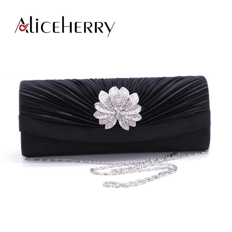 Nueva marca de bolso de noche de satén con diamantes, bolso de mano de día, cadena de plata, bolso largo rojo para novia, bolsos de mano para boda