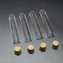 Livraison gratuite 50 pièces/lot 12x60mm tubes à essai en plastique dur avec bouchon en liège pour les tests genre shcools/université