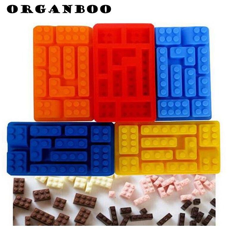 ORGANBOO 1 ADET lego tuğla Blokları Şekilli Çikolata silikon kalıp Dikdörtgen DIY Buz Küpü Tepsi Kek Araçları Fondan Kalıpları 10 Delik