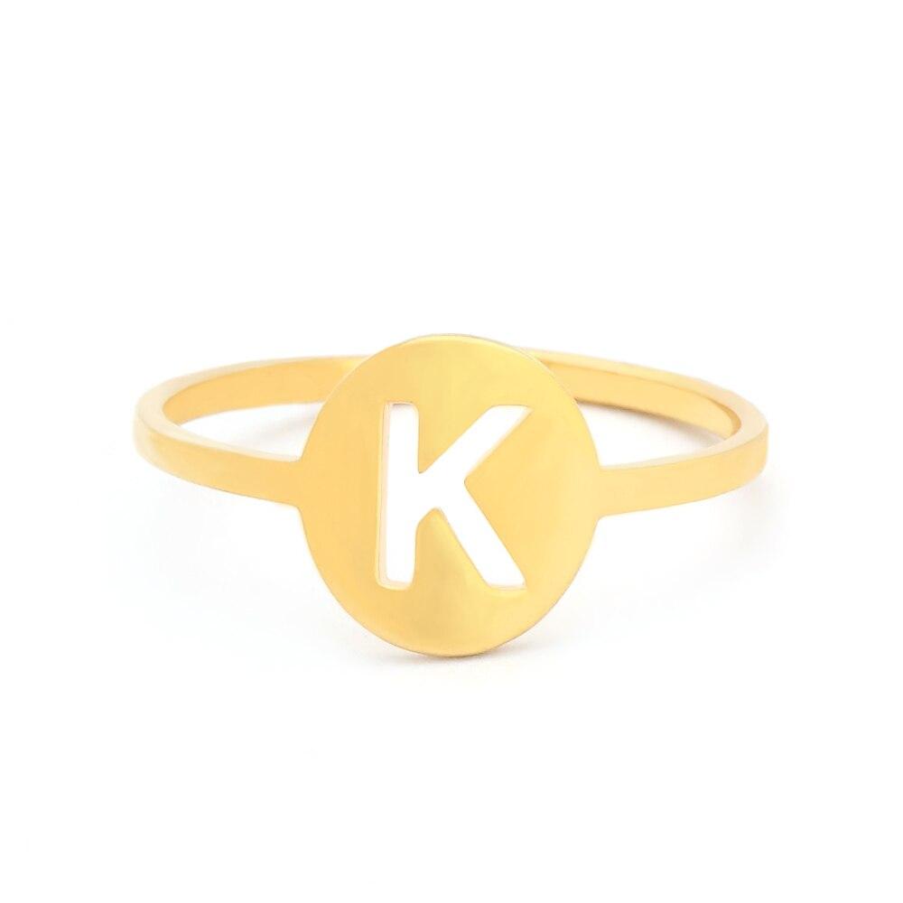 Unissex anel de número personalizado ouro prata cor anéis A-Z 26 nome inicial carta anel anillos mujer moda anéis 2019 feminino