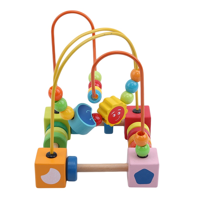 Desarrollo inteligente de bolitas de madera coloridas, juguete de coordinación manual para niños, bloques de construcción con cuentas de madera de dibujos animados