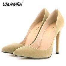Loslandifen women's pumps high heels shoes woman party wedding dress OL slip on pointed toe flock sh