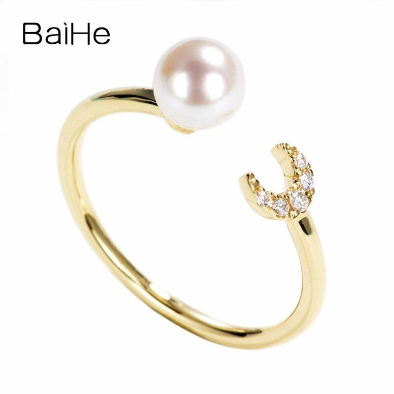 BAIHE sólido 14K oro amarillo 5mm perla de agua dulce impecable compromiso mujeres delicado de moda joyería regalo delicado anillo diamante perla