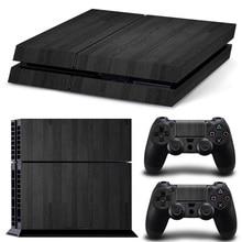 Livraison directe gratuite en bois noir personnalisé populaire décalcomanies de peau pour Sony PS4 Console + 2 pièces contrôleurs autocollant de peau # TN-P4-10206