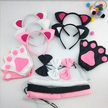 Christmas Girls Kids Birthday Black Pink White Cat Costume Set Ear Headband TUTU Skirt Bow Gloves Tail Fancy Dress Outfit