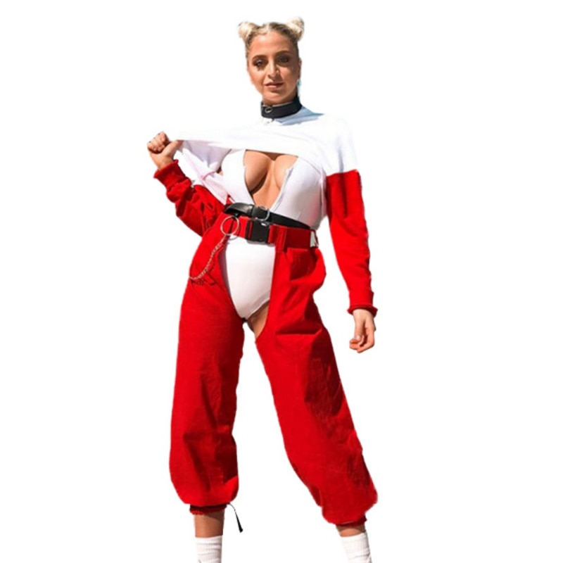 Women Sexy Red Hip Hop Pants Ladies Open Trousers Punk Buckle High Waist Jogging Pants