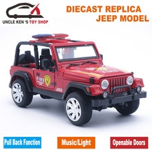 Modèle de pompier moulé sous pression, voitures de réplique de jouets de Jeep, cadeau de garçons avec la boîte/portes ouvrables/son/lumière/fonction de retrait comme Souvenir