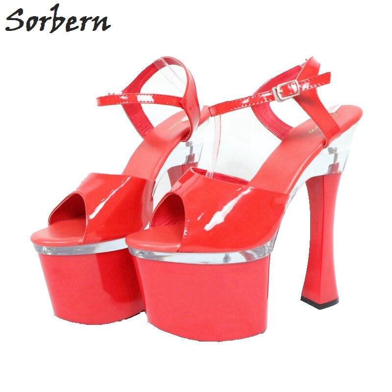 Женские сандалии с ремешком на щиколотке Sorbern, летние туфли на квадратном каблуке-столбике и платформе с открытым носком, Размер 12