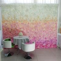 wedding flower wall gradual change hot pink flower 3d backdrop wedding stage decoration by fedex