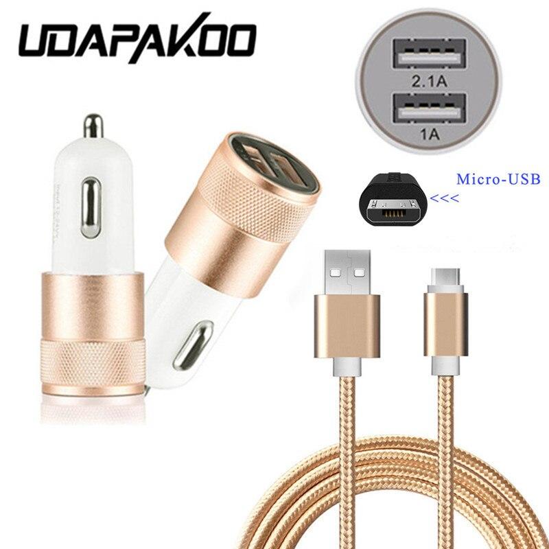 1M Micro USB nice + Dual USB 2.1A быстрое автомобильное зарядное устройство для Samsung Galaxy/Xiaomi redmi 5 plus 4 4x для Oukitel U20/k6000/Doogee x7