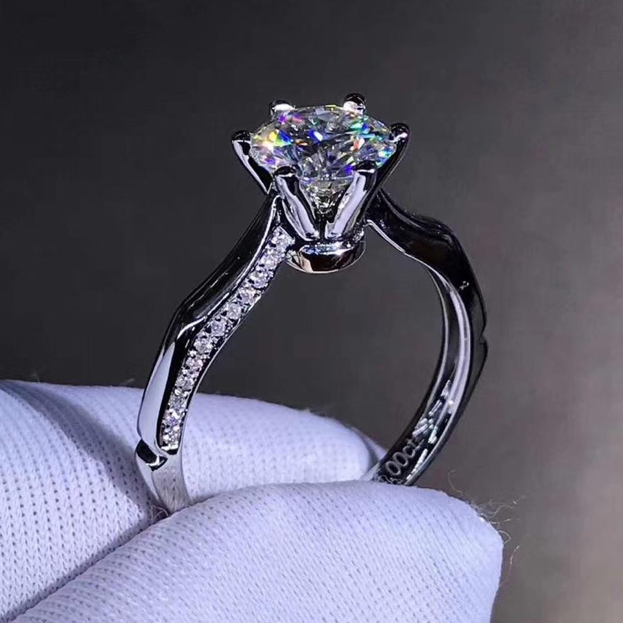 925 فضة خاتم 1ct 2ct 3ct تصميم خاص مويسانيتي خاتم الزفاف الماس مجوهرات حفلة خاتم للذكرى للنساء