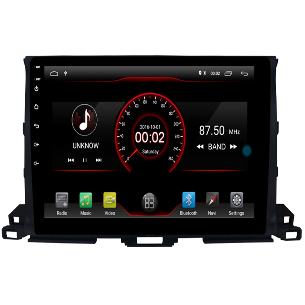 2G RAM 16 ROM 1024*600 quad Core Android 9.1 Car DVD GPS Radio for Toyota HIGHLANDER 2014 2015 2016 2017 2018 Head Unit music