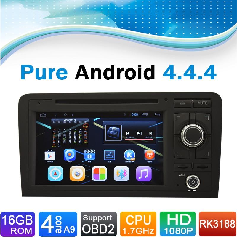 (Quad Core, 16GB iNand Flash) Android puro 4.4.4 sistema de navegación GPS DVD Radio para coche para Audi A3 (2003-2012)
