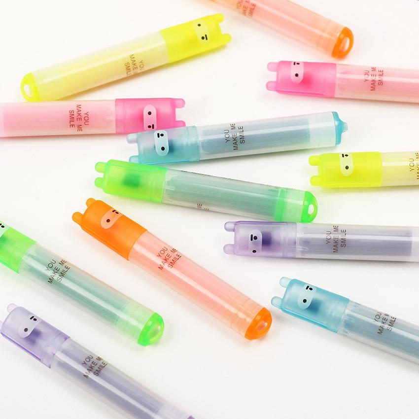 6 pièces Mini surligneur créatif belle bande dessinée peinture stylo marquage stylos étudiants apprennent des fournitures de papeterie