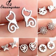 Shuangshuo Stainless Steel Cat Stud Earrings for Women Earings pendientes mujer Earrings Jewelry Ani