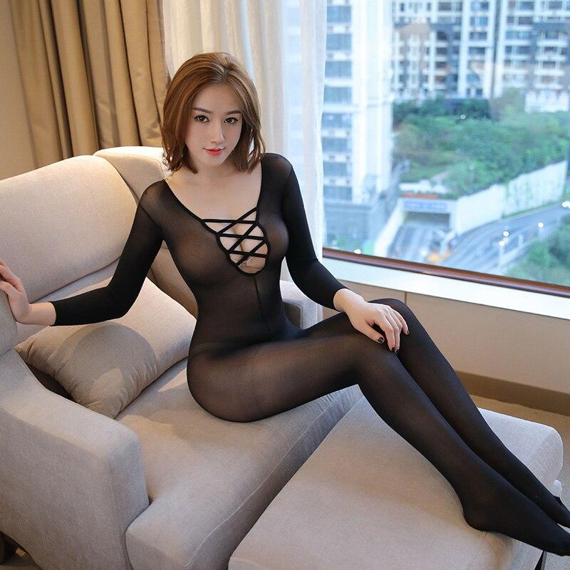 Transparente Cheer negro medias con abertura en la entrepierna de manga larga body Deep V Bodystocking Sexy Lencería mujer Cruz frontal Pantyhose
