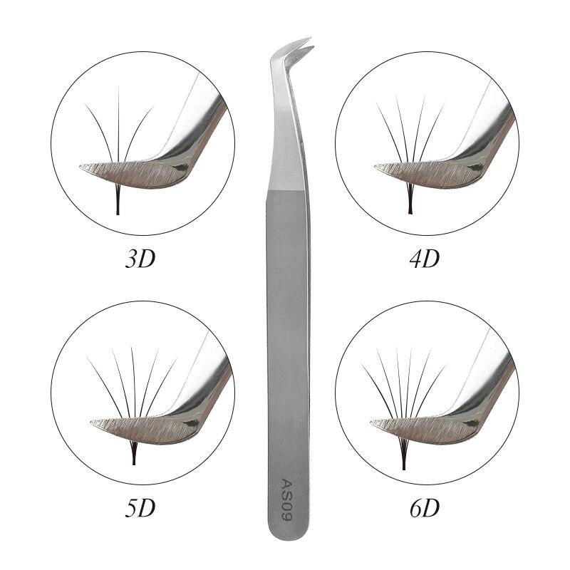 AS09 tweezers for volume eyelash extension 3D 5D 6D stainless steel tool individual