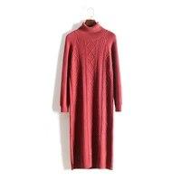 vadim women dress solid 2020 winter new womens knit slim long bag hot sale wool hip cashmere split high collar sleeve female