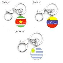 Bayrak güney amerika anahtarlık vintage bayrağı surinam ve Venezuela ve Uruguay patriot takı kaliteli el yapımı anahtar zincirleri