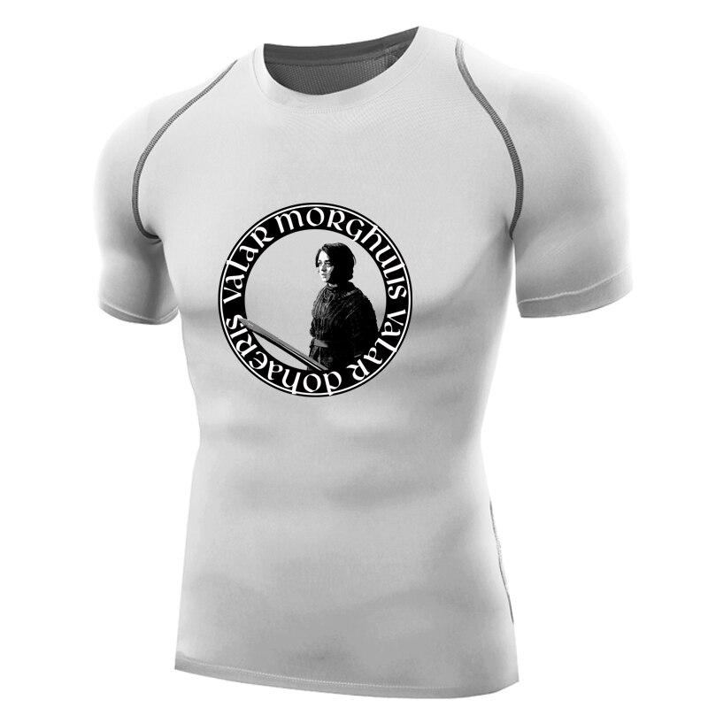 Juego de Tronos Camiseta compresión camisa hombres manga corta arya stark camisa quick dry fitness tops valar morghulis Dohaeris