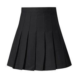 Saia plissada slim cintura alta feminina, saia plissada jupe femme casual 2019