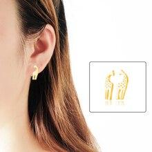 ICFTZWE Gold Colour  Pendientes Hombre Bijoux Femme Heart Giraffes Stainless Steel Fashion Earrings For Women