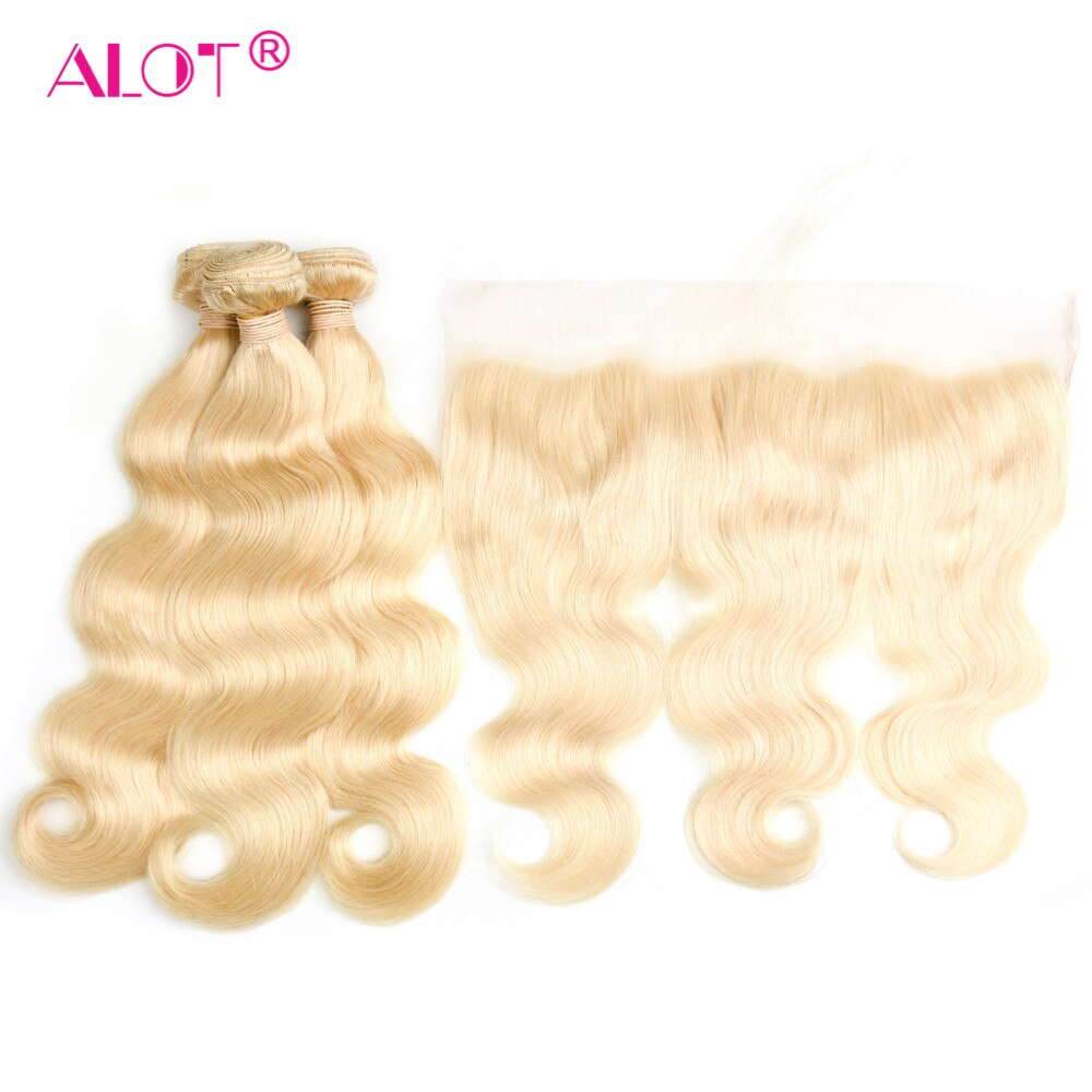 Alot-وصلات شعر بيرو مموجة ، 613 شعر طبيعي غير ريمي ، أشقر عسلي ، مع دانتيل أمامي شفاف