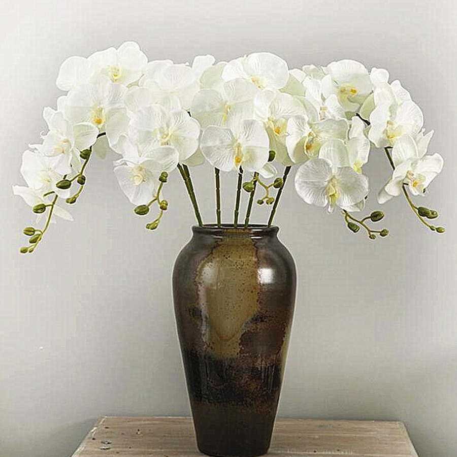 AliExpress - Artificial Silk White Orchid Flowers High Quality Butterfly Moth Phalaenopsis Fake Flower for Wedding Home Festival Decoration