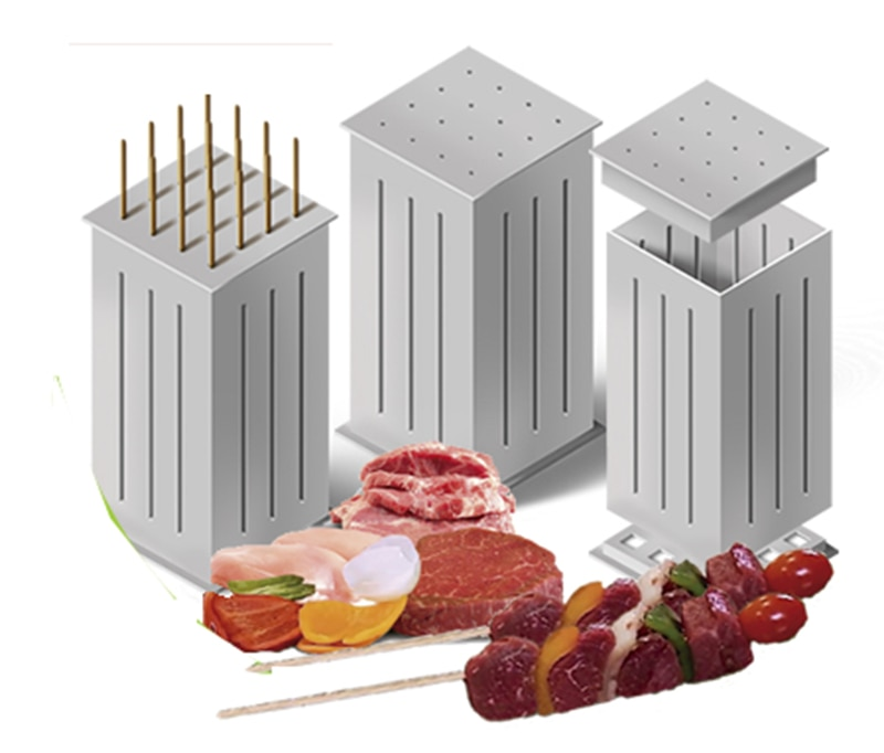 New 32 Bamboo Skewers Food Meat Vegetable Slicer Shish Kebob Maker Skewer Machine Kabob Skewering Maker Box BBQ Accessories