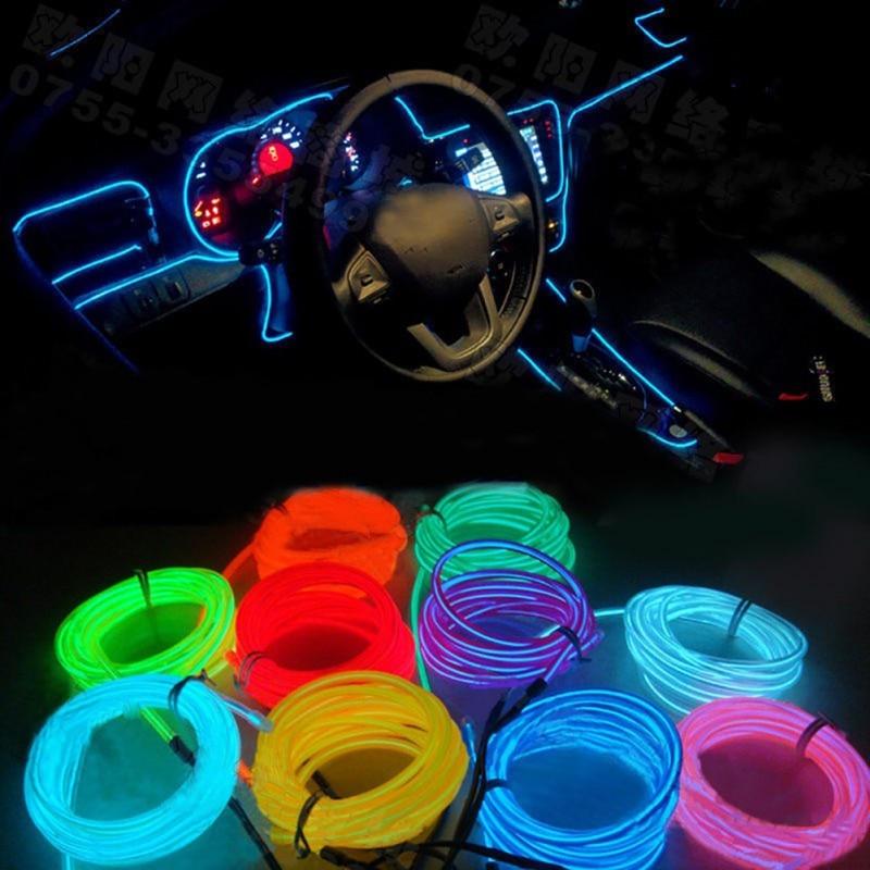 Interior Car Lighting EL LED 12V Car Interior Light Accessories AUTO Lamp For Cars Diode Fixtures Round line 1 meter 2.3mm