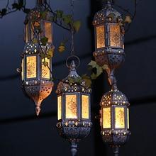 Marrocos branco escova ouro ferro retro multicolorido ornamentos de vidro pendurado castiçal torre casamento castiçais metal artesanato