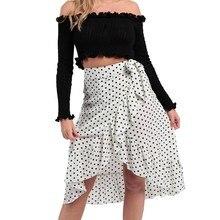 Jaycosin skirt female fashion summer high waist temperament fashion tie bow ruffled hem wave point ruffle wrap midi skirt