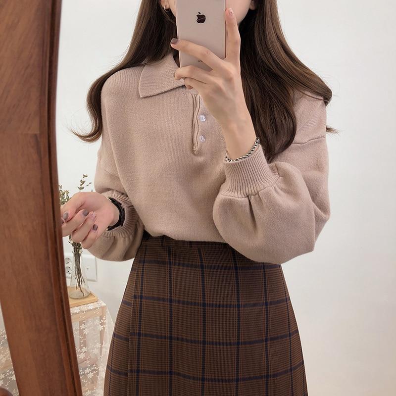 Abrigo de otoño para mujer, suéteres de invierno 2020, harajuku kawaii, moda coreana, POLO de personalidad, cuello, botones, suéter de punto para mujer
