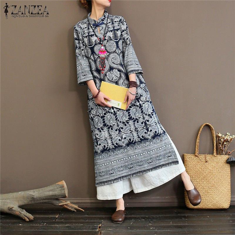 2021 ZANZEA Vintage Women Mandarin Bohemian Printed Dress Chinese Style Chipao Long Dresses Vestidos Sundress Maxi Robe Femme