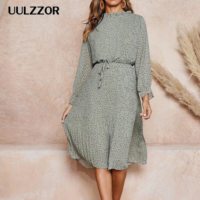UULZZOR 2019 Vintage Polka Dot mujeres Chiffon vestido plisado femenino mariposa manga vestido de fiesta primavera Ruffled Collar vestidos