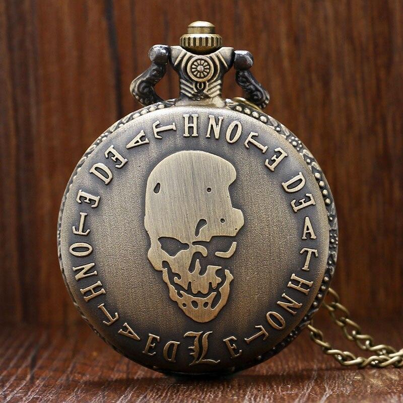 Steampunk do vintage death note mal crânio relógio de bolso de quartzo masculino feminino colar pingente corrente presente aniversário reloj de bolsillo