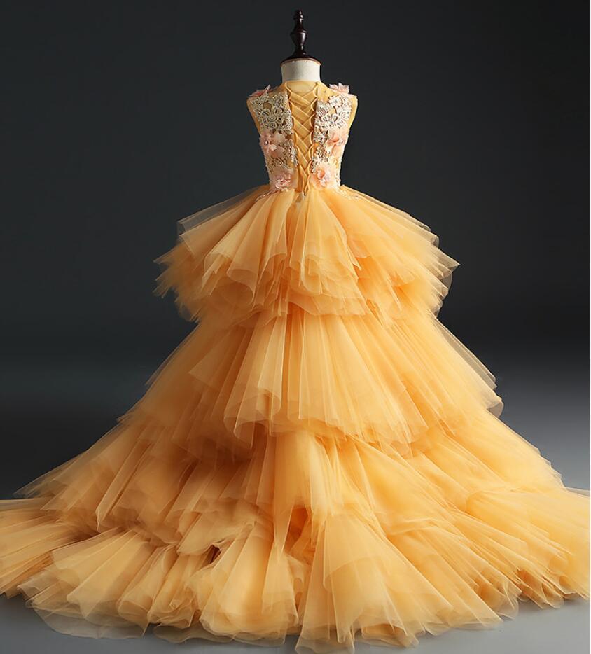 elegante longo arrastando flor meninas vestido para o casamento de ouro floral tutu
