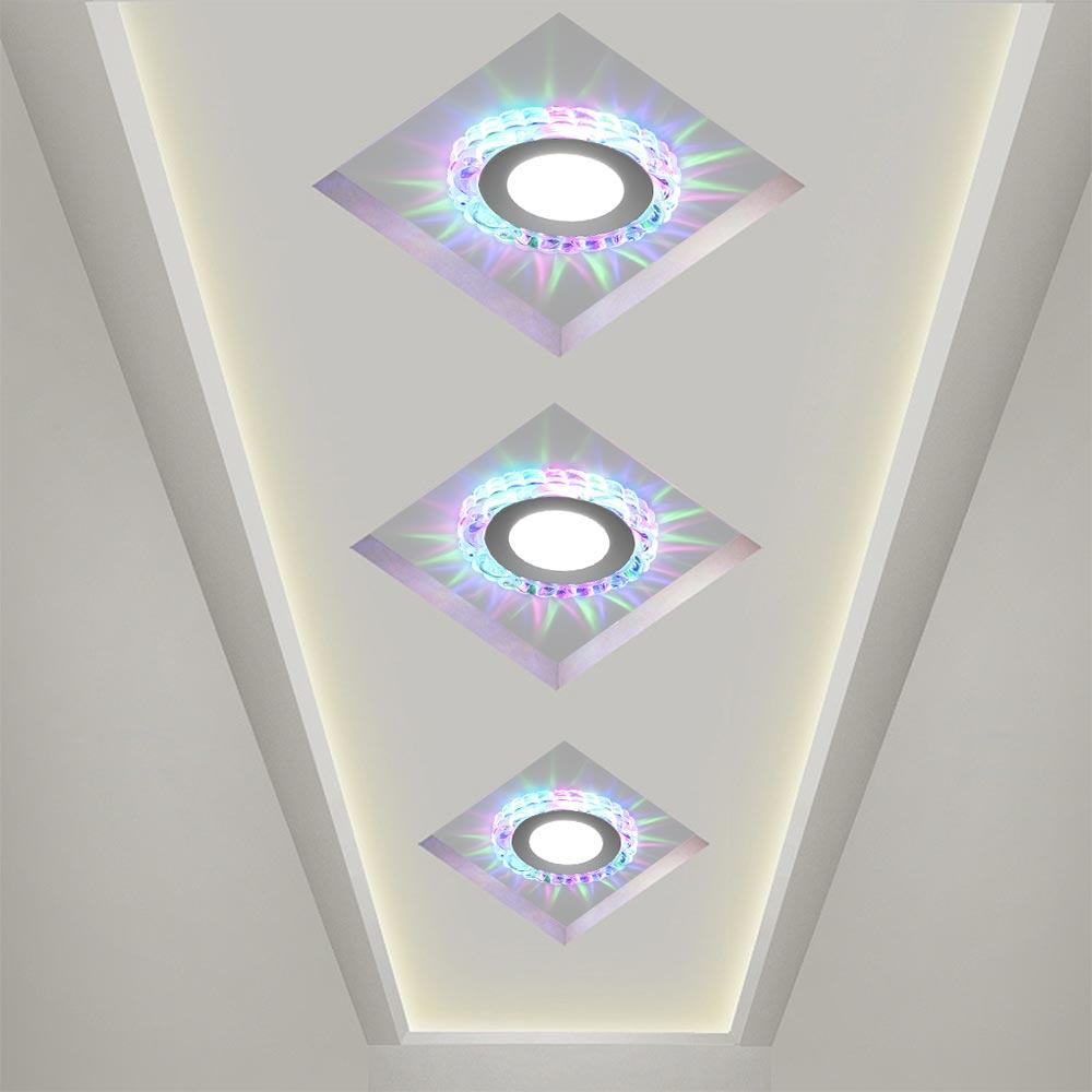 5W moderna lámpara LED de techo de cristal Circular Mini lámpara de techo Luminarias Rotunda luz para sala pasillo cocina B