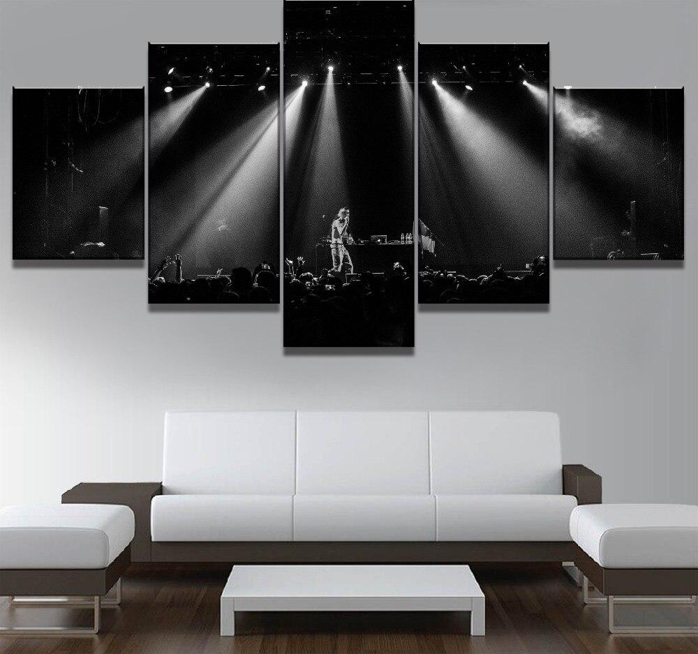 Cuadro de lienzo de 5 piezas con diseño de Lil Peep, póster de música, Cuadros, lienzo, arte de pared, decoración del hogar para sala de estar, regalo único, cuadro de pared