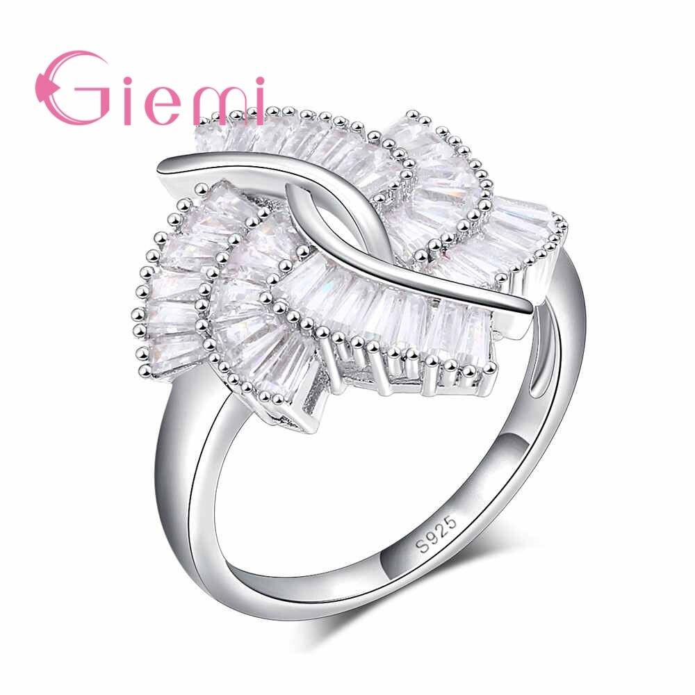 ¡Oferta! Anillos de dedo Tornado para mujer, accesorios elegantes con Ziroconia cúbica transparente, Plata de Ley 925 para mujer