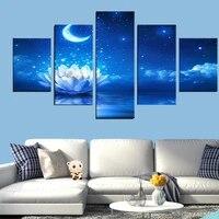 Peinture sur toile 5 panneaux  belle fleur  lune  mode  decoration moderne pour la maison  salon  cadre photo modulaire  art mural