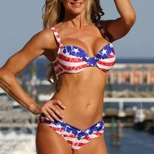 2018 New USA American Flag Print Swimwear Biquinis Women Sexy Swimsuit Bikinis Set Trikini Beach Bathing Suit Tankini