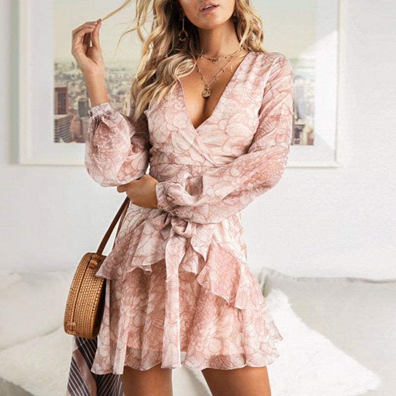 Melegant Chiffon Ruffle manga larga arco Rosa Vestido Mujer Sexy transparente Casual Vestidos de fiesta Mini vestido femenino Vestidos