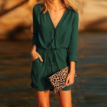 طويل الأجل الساخن المنتج المرأة الخامس الرقبة الأخضر فستان سواريه بأكمام طويلة مساء الصيف عادية فستان مصغر بلون مرونة الخصر dres