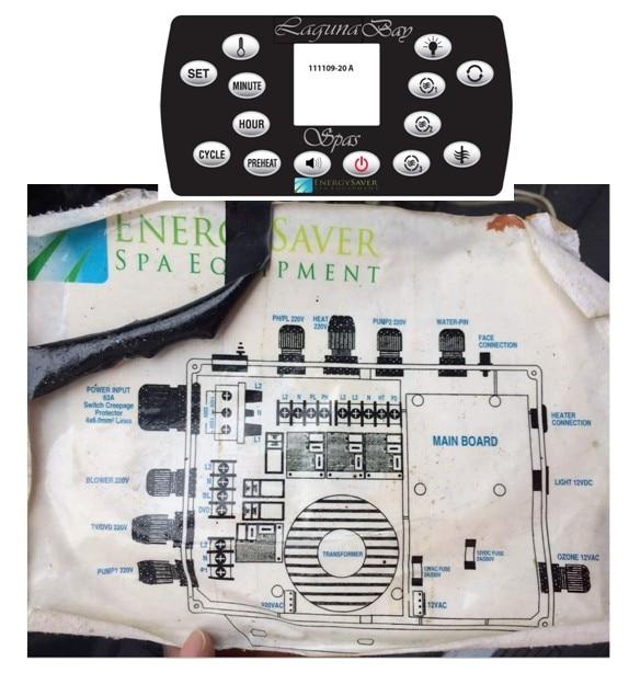 Lagunabay spa paquete controlador de bañera de hidromasaje repuesto ahorro de energía equipo de Spa se adapta a spas con 2 x bomba de chorro + 12VDC luz + ET-H3000